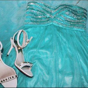 sequin hearts ~ strapless aqua sequin mini dress